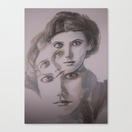 watercolor portrait of the Spirits in Her Head Canvas Print