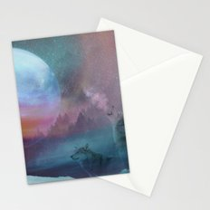 Howling at the moon Stationery Cards