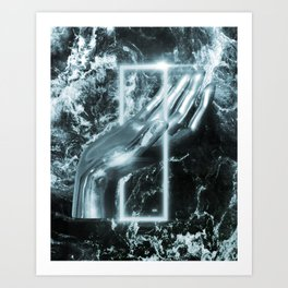 Silver minimal hand on box. Art Print