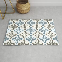 Modern Abstract Flower Tile Pattern Turquoise Blue Olive Brown Rug