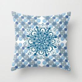 Blue Rhapsody Patterned Mandalas Throw Pillow