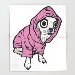Chihuahua Pink Hoodie Throw Blanket