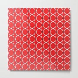Red Quatrefoil Pattern Metal Print