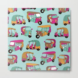 India rickshaw illustration pattern Metal Print