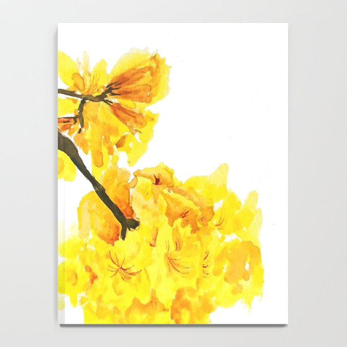 Yellow trumpet trees watercolor yellow roble flowers yellow tabebuia yellow trumpet trees watercolor yellow roble flowers yellow tabebuia notebook mightylinksfo