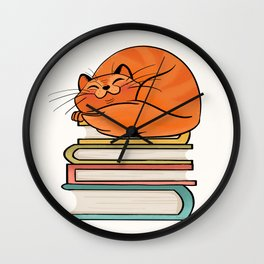 With Books And Cats Life Is Sweet Wall Clock