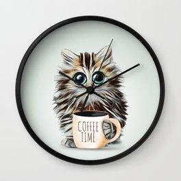 cat coffee time Wall Clock