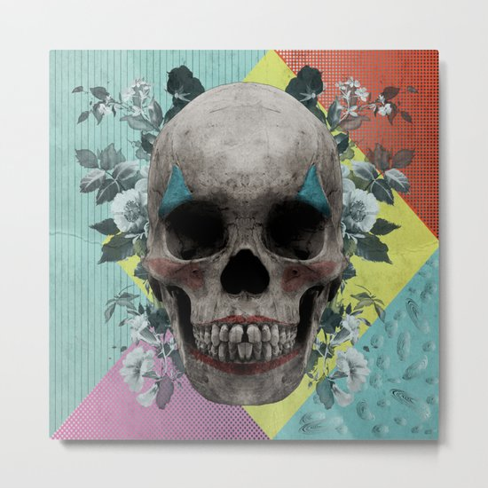 skull getting' ready for halloween but didn't quite succeed Metal Print