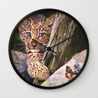 wild things Wall Clocks featuring Leopard Baby Wild Things by Moody Muse