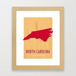 North Carolina State Map - Tar Heel State Framed Art Print