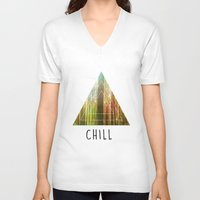 chill V-neck T-shirts featuring Chill  by Corentin Mas