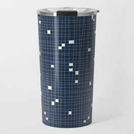 Blue and White Grid - Missing Pieces Travel Mug