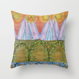 Tipis and decorated Wagon Throw Pillow