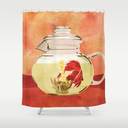 Beta Fish Tea by Kenzie McFeely Shower Curtain