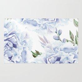 Pretty Indigo Blue Roses Garden Rug