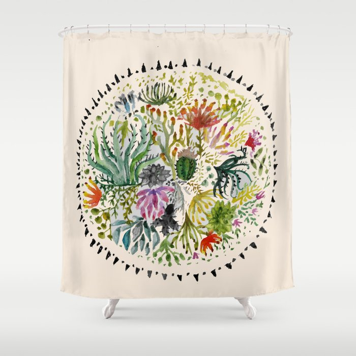Succulents Mandala Shower Curtain