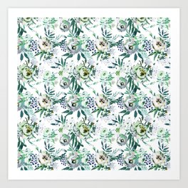 Country white green rustic watercolor floral Art Print