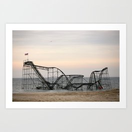 Jet Star Roller Coaster in Ocean After Hurricane Sandy Art Print