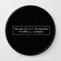 looking for alaska Wall Clocks featuring Labyrinth Quote - Looking for Alaska by Terri