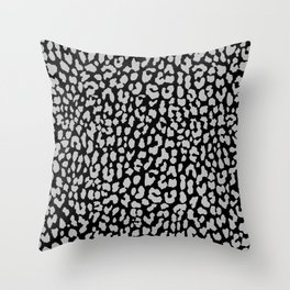 Gray Black Leopard Throw Pillow