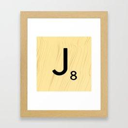 Scrabble J Decor, Scrabble Art, Large Scrabble Tile Initials Framed Art Print