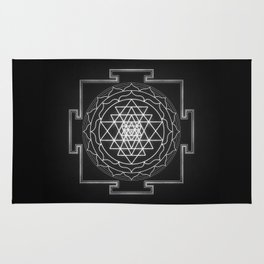 Sri Yantra XI - Black & White Rug