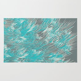 feathered lines in teal Rug