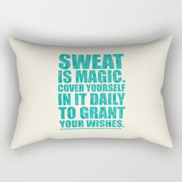 Lab No. 4 - Sweat Is Magic Cover Yourself In It Daily Gym Inspirational Quotes Poster Rectangular Pillow