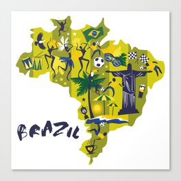 Abstract Brazil Soccer Mural Canvas Print