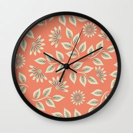 Coral Leaves & Flowers Wall Clock