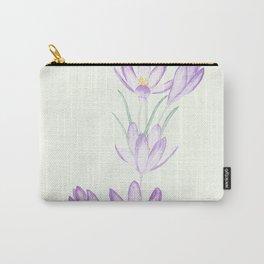 purple botanical crocus flowers Carry-All Pouch