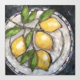 Lemons on a Wedgewood Plate Canvas Print