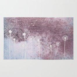Dandelion Floral Drawing on Rose Gold Metal Rug