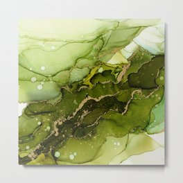 Green Olive and Gold Abstract Ink Metal Print