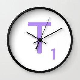 Lavender Scrabble Letter T Wall Clock