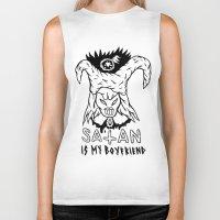 boyfriend Biker Tanks featuring SATAN IS MY BOYFRIEND by Shaltmira