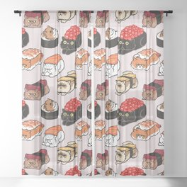 Sushi Persian Cat Sheer Curtain