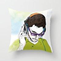 dj Throw Pillows featuring DJ  by Vivian Gerber
