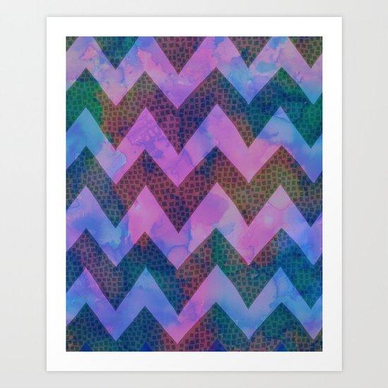 Little Squares Chevron - Blue Art Print