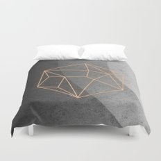 Geometric Solids on Marble Duvet Cover