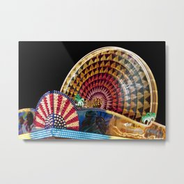 Brightly Colored Ferris Wheel at Night Metal Print