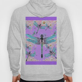 DELICATE BLUE DRAGONFLIES LILAC DAISY FLOWERS ART Hoody