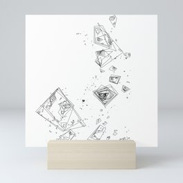 Mountain Vertices, Mt. Shasta, Black Geometric Mini Art Print
