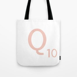 Pink Scrabble Letter Q - Scrabble Tile Art and Accessories Tote Bag
