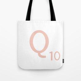Pink Scrabble Letter Q - Scrabble Tile Art and Accessories Tote Bag