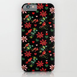 Christmas Birds Black Background iPhone Case