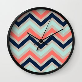 Chevron Coral Navy Beige Coral Wall Clock