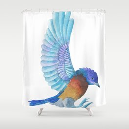 Cute Colorful Bird Watercolors Illustration Shower Curtain