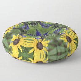 Blue Salvia Compass Points in a Ring of Rudbeckia Floor Pillow
