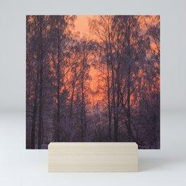 Winter Scene - Frosty Trees Against The Sunset #decor #society6 #homedecor Mini Art Print